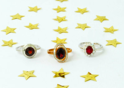 Garnet and diamond rings