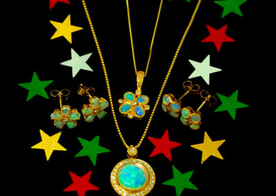 Opal and diamonds earrings and pendant