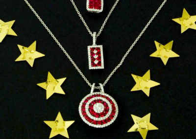 Ruby and diamond pendants