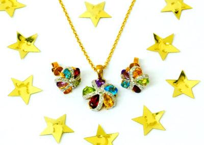 semi precious pendant and earrings