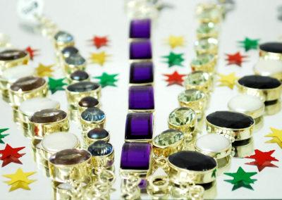 silver stone set bracelets